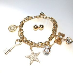 Guess Set of Glam Bracelet and Round Earrings
